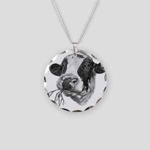 Happy Holstein Friesian Dairy Cow Necklace Circle