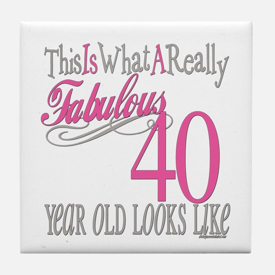 40th Birthday Gifts Tile Coaster