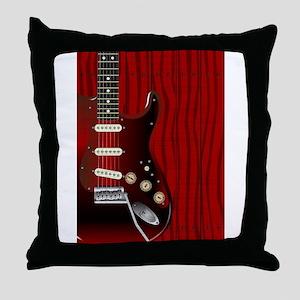 Quality Wood Guitar Throw Pillow