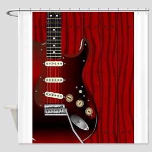 Quality Wood Guitar Shower Curtain