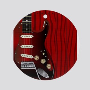 Quality Wood Guitar Round Ornament