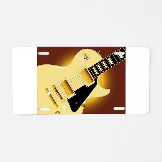 Guitar Close Up Aluminum License Plate