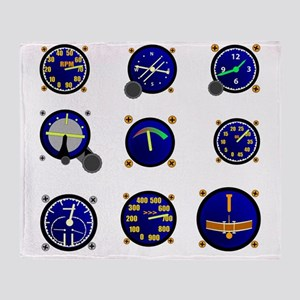 Various Aircraft Gauges Throw Blanket