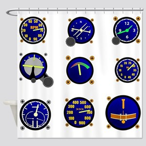 Various Aircraft Gauges Shower Curtain
