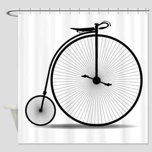 Penny Farthing Silhouette Shower Curtain