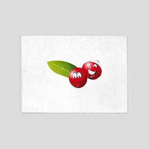 Cartoon nectarine fruit smiling 5'x7'Area Rug