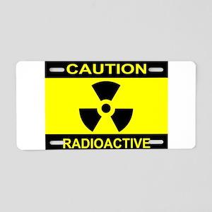 Caution Radioactive Aluminum License Plate
