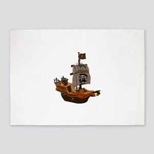 Pirate ship clip art 5'x7'Area Rug