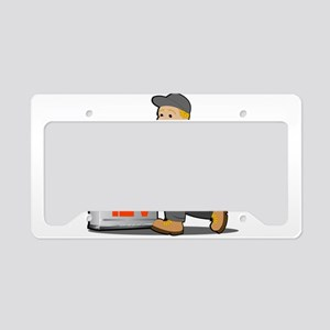 Electrician with 12 volts bat License Plate Holder