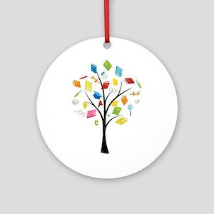 Book knowledge tree Round Ornament