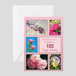 105th birthday, beautiful flowers birthday card Gr