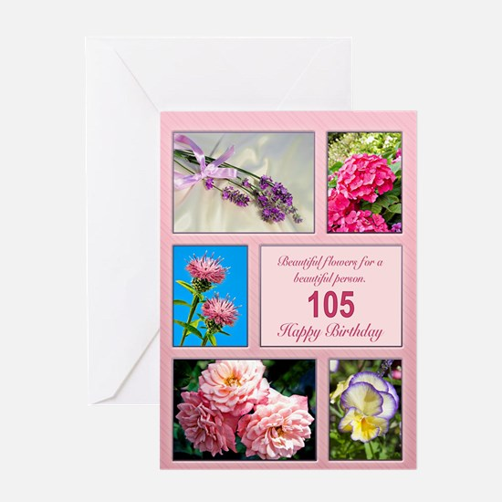 105th birthday, beautiful flowers birthday card Gr