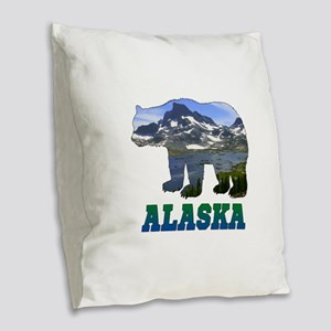 Alaskan Bear Burlap Throw Pillow