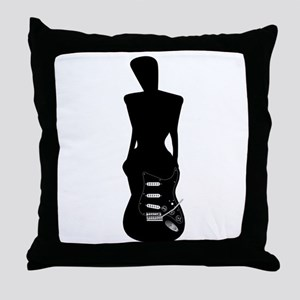 Transition Girl to Guitar Throw Pillow