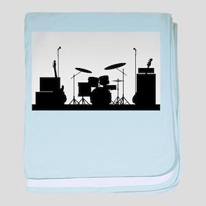Rock Band Equipment Silhouette baby blanket
