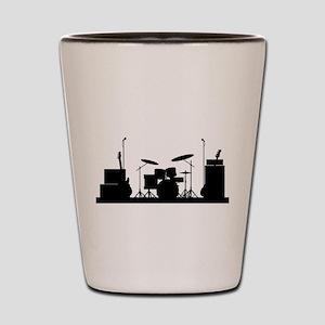 Rock Band Equipment Silhouette Shot Glass