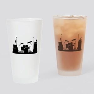 Rock Band Equipment Silhouette Drinking Glass