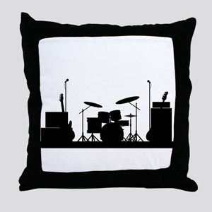 Rock Band Equipment Silhouette Throw Pillow