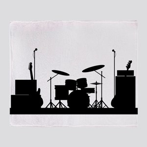 Rock Band Equipment Silhouette Throw Blanket