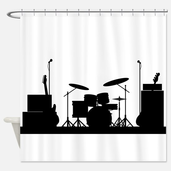 Rock Band Equipment Silhouette Shower Curtain