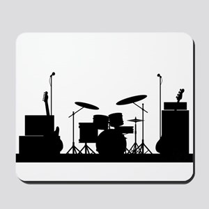 Rock Band Equipment Silhouette Mousepad