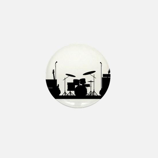 Rock Band Equipment Silhouette Mini Button