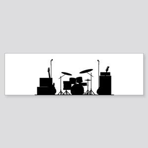 Rock Band Equipment Silhouette Bumper Sticker