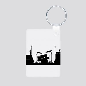 Rock Band Equipment Silhouette Keychains