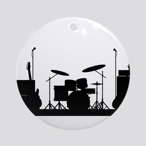Rock Band Equipment Silhouette Round Ornament