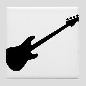 Bass Guitar Silhouette Tile Coaster