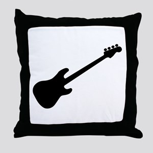 Bass Guitar Silhouette Throw Pillow