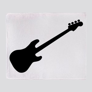 Bass Guitar Silhouette Throw Blanket