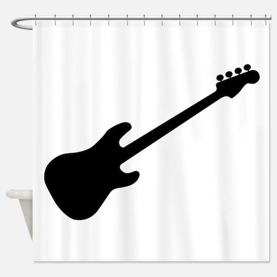Bass Guitar Silhouette Shower Curtain
