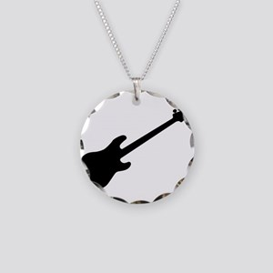 Bass Guitar Silhouette Necklace Circle Charm