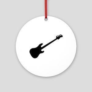 Bass Guitar Silhouette Round Ornament
