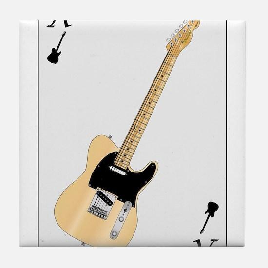 Guitar Playing Card Tile Coaster