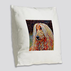 Afghan Hound: A Portrait in Oi Burlap Throw Pillow
