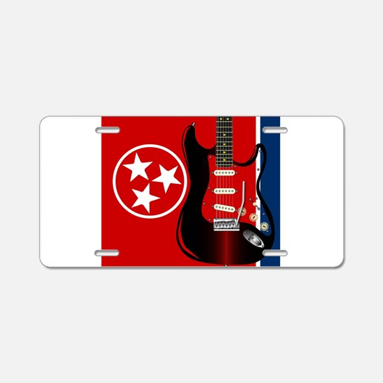 Tennessee Guitar Aluminum License Plate