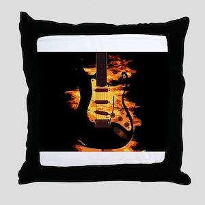Burning Guitar Throw Pillow