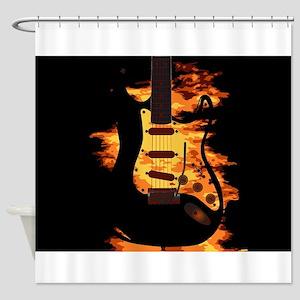 Burning Guitar Shower Curtain
