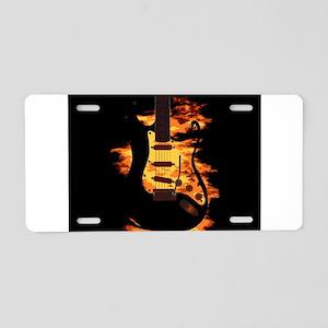 Burning Guitar Aluminum License Plate