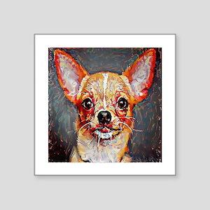 """Chihuahua: A Portrait in Oi Square Sticker 3"""" x 3"""""""