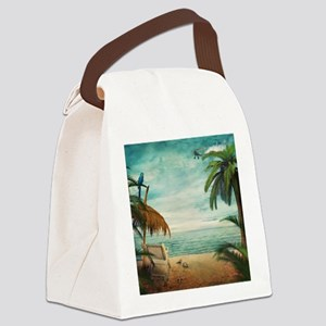 Vintage Beach Canvas Lunch Bag