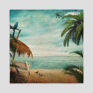 Vintage Beach Queen Duvet