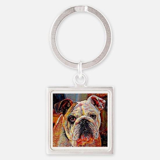 English Bulldog: A Portrait in Oil Square Keychain
