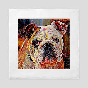 English Bulldog: A Portrait in Oil Queen Duvet