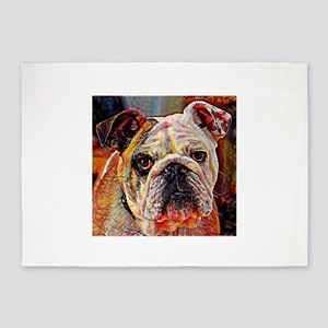 English Bulldog: A Portrait in Oil 5'x7'Area Rug