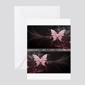 Live laugh love butterfly Greeting Cards