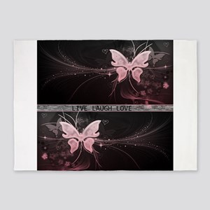 Live laugh love butterfly 5'x7'Area Rug