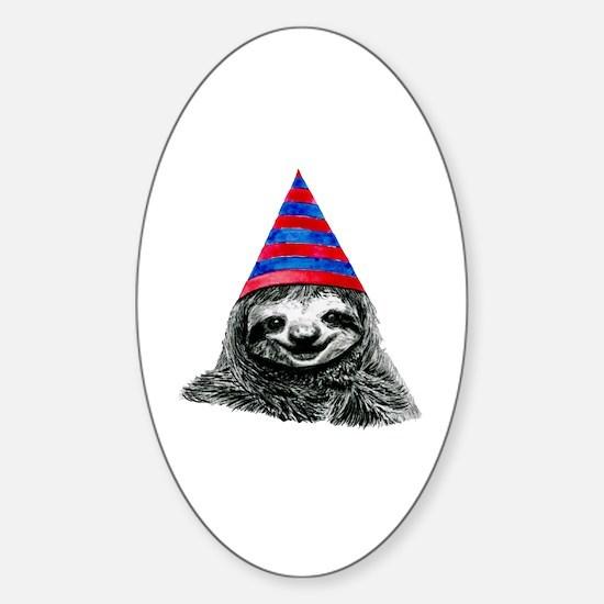 Funny Sloth Sticker (Oval)